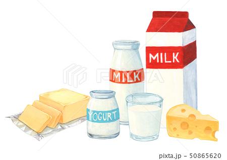 乳製品のイラスト 牛乳 バター チーズ ヨーグルト(手描き) 50865620