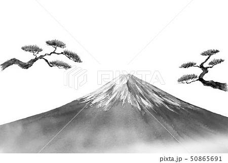 年賀状テンプレート 富士山 松の木 水墨画風 50865691