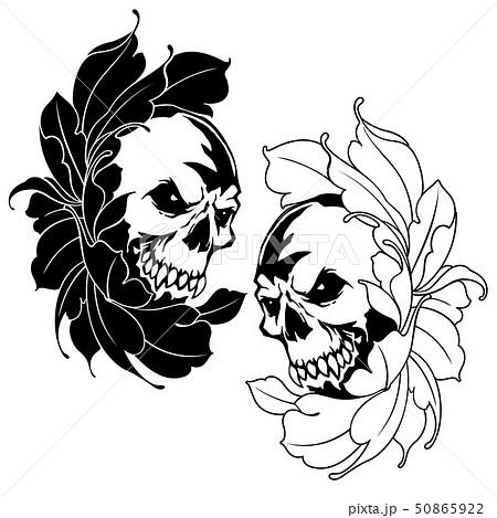 スカルと花のイラスト, 50865922