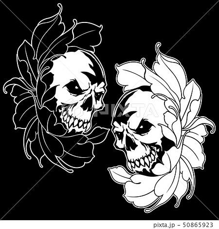 スカルと花のイラスト, 50865923