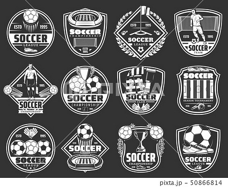 Soccer sport badges, football league club icons 50866814
