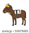 競馬のイラスト。上方の視界を遮るためのブローバンドという馬具を付けた馬。 50879885