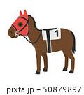 競馬のイラスト。音に驚いたりしなように顔や耳を覆った覆面、メンコという馬具を付けた馬。 50879897
