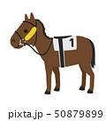 競馬のイラスト。左右を見えにくくして前方に意識を集中させるチークピーシーズという馬具を付けた馬。 50879899