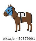 競馬のイラスト。視野を制限するためのブリンカーという馬具を付けた馬。 50879901