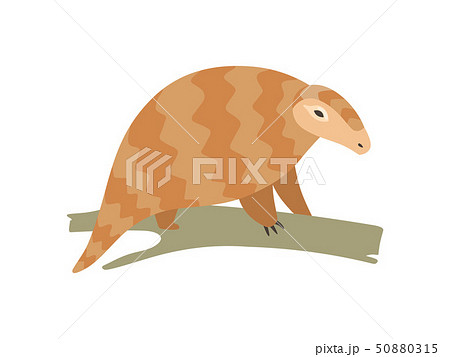 Cute Pangolin Sitting on Tree Branch, Rare Species of Animals Cartoon Vector Illustration 50880315