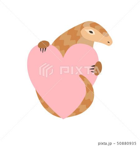 Cute Pangolin Cartoon Character Holding Pink Heart, Rare Species of Animals Vector Illustration 50880935
