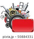 Vector Red Frame with Car Parts 50884331