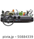 Vector Car Dashboard with Spare Parts 50884339