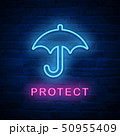Vector illuminated neon light icon sign umbrella 50955409