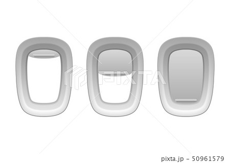 Vector 3d Realistic Three White Plastic Portholes of Airplane with Open and Closed Window Shades 50961579