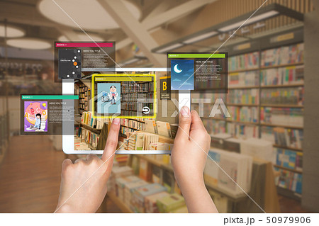 AR application to check relevant information, smartphone augmented reality search concept 008 50979906