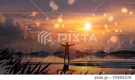 Beautiful winter landscape painting illustration 007 50980326