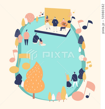 An outside festival event with entertainment in spring time vector illustration 010 50980382