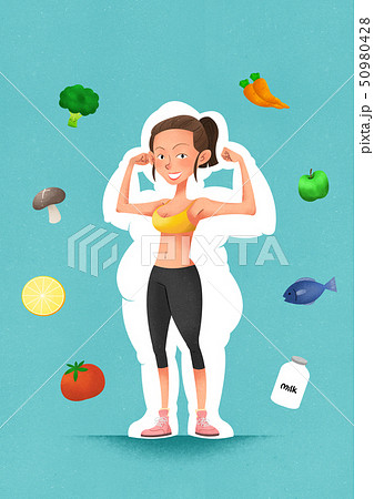 health care and body balance concept, lose weight and exercise vector illustration 002 50980428