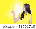 young woman holding yellow light bulb. 51001715