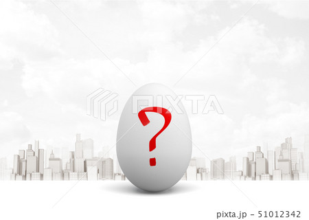 3d rendering of white egg with red question mark on white city skyscrapers background 51012342