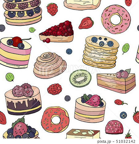 Seamless pattern with different cakes and pastry 51032142
