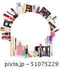 Vector Round Blank Frame with Makeup Cosmetics 51075229