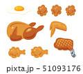 鶏肉料理のイラストセット(線なし) 51093176