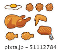 鶏肉料理のイラストセット(線あり) 51112784