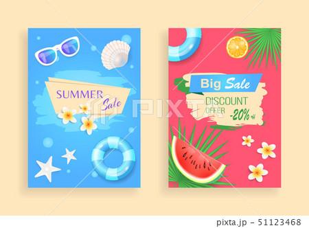 Summer Big Sale Discount Set Vector Illustration 51123468