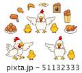 ニワトリとヒヨコの親子と鶏肉料理のイラストセット 51132333