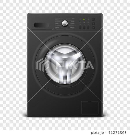 Vector 3d Realistic Modern Black Steel Washing Machine Icon Closeup Isolated on Transparent 51271363