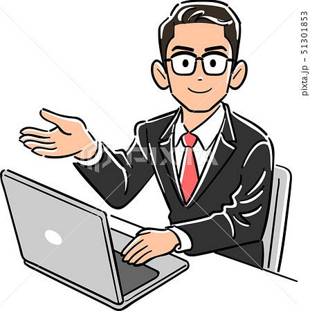パソコンを操作する眼鏡をかけたビジネスマンが案内する 51301853