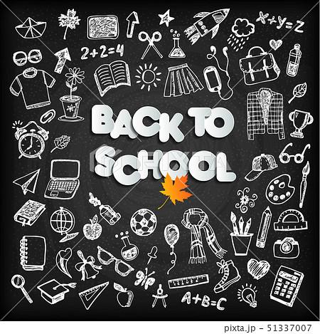 Back to school background set on black board 51337007