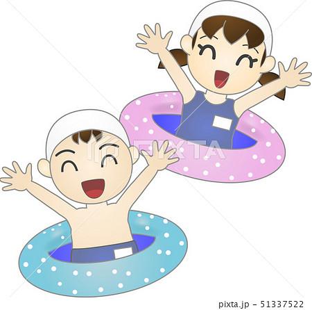 子供(浮き輪・プール)ベクター 51337522