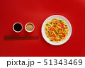 Glass noodle with shrimps and vegetables on the red background 51343469