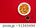 Glass noodle with shrimps and vegetables on the red background 51343494
