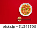 Glass noodle with shrimps and vegetables on the red background 51343508