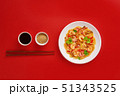 Glass noodle with shrimps and vegetables on the red background 51343525