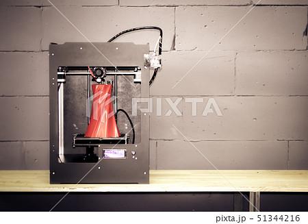 3D printer working close up. Automatic three dimensional 3d printer 51344216