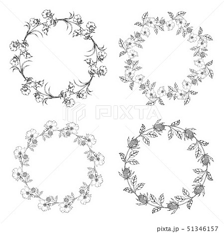 Flower wreath Collection Hand Draw Empty Frame  51346157