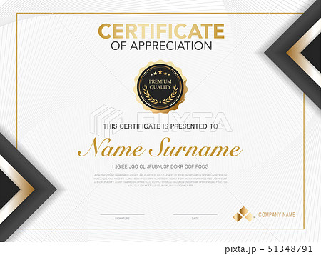 diploma certificate template black and gold color. 51348791