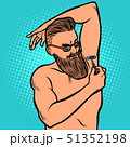 bearded hipster man shaves his armpit with a razor 51352198