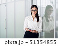 Young business woman with tablet computer opening glass office door 51354855