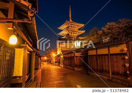《京都府》八坂の塔を望む夜景・京都の夜 51378462