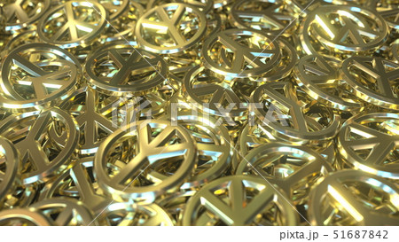 Golden peace sign tokens or badges. Conceptual 3D rendering 51687842