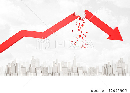 3d rendering of red broken financial diagram arrow on white city skyscrapers background 52095906