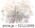 原岡海岸の桟橋 水彩画風 52111698
