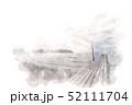 原岡海岸の桟橋 水彩画風 52111704