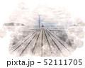 原岡海岸の桟橋 水彩画風 52111705