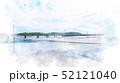 原岡海岸の桟橋 水彩画風 52121040