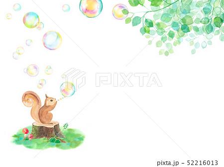 木漏れ日の中シャボン玉を吹くリス(横長) 52216013