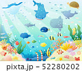 かわいい海の生き物のイラスト 52280202