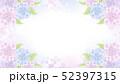 紫陽花のフレーム 3色の花と葉 グラデーション背景 52397315